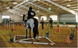 NEJ's art director Julie Johnston (right) helps judge at the S.O. Equestrian Championship.