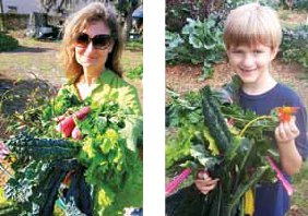 Mary Capper harvesting,  and Jackson Settle taking home fresh vegetables from the Faith House garden. Photo by Emmanuel Roux