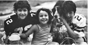 Justin, Sarah and John with their faithful friend Matty