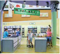 """t Great Explorations, kids """"shop"""" in a grocery store while learning  the importance of everyday life choices and nutrition."""