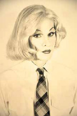 Photograph by Christopher Makos of Andy Warhol dressed as a woman, l982