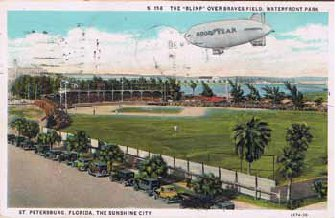 Waterfront Park overlapped today's Al Lang Stadium, with home plate near the middle of today's parking lot.  The Park was built as a part of a deal to get the Boston Braves to come to St. Pete for spring training.  It was completed in 1922.  The Braves continued to train in St. Pete until 1937.  Ruth left the Yankees to join the Braves in 1935, his last year as a player.  Waterfront Park was demolished in 1947 and replaced with the first Al Lang Stadium, image circa 1925.   (Courtesy of St. Petersburg Museum of History)