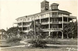 The West Coast Inn was built in 1913 and demolished in 1967 to make way for the Bay Plaza Development.  The hotel was located at the Southwest corner  of 1St  St. and 3rd Avenue South near today's Hilton.  It was considered a Health Spa because of its location near St. Pete's Fountain of Youth.  The Boston Braves stayed there in 1934, image circa 1925.  Courtesy of St. Petersburg Museum of History.