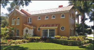 First home in Bahama Shores. Burnette F. Stevenson first developed Bahama Shores in 1926. He called the neighborhood Alta Marina. The first home was built in the Mediterranean style by celebrated St. Petersburg architect Edgar Ferdon.