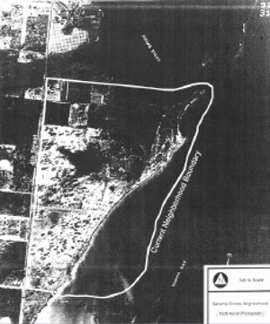 Aerial photo of Bahama Shores development, marked to show the extent to which the neighborhood was filled in 1947. Image 1946.