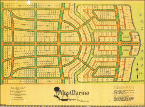 Burnette F. Stevenson undertook the development of Bahama Shores in 1926.  Only he called the development Alta Marina, gave the streets Spanish names, and envisioned a Grand Canal and small yacht basins as shown in this highly symmetrical plan. After two homes were built the development came to a halt as the real estate market dried up. Building would not get underway again until just before the beginning of WWII. The name of the development changed to Bahama Beach and then to Bahama Shores.