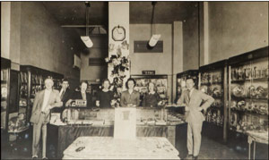 Bruce Watters Jewelers at 360 Central Avenue. Bruce Weaver Watters is on the right. Image circa 1938.