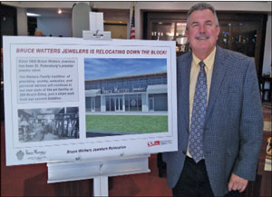 im Watters of Bruce Watters Jewelers shows new store design. The store will soon move 72 feet to its new location on Beach Drive.  Robert Reid Wedding Architects are the new store designers.