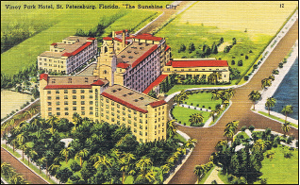 """Aerial graphic view of the Vinoy before World War II. Note 6th Avenue runs directly north of the Vinoy.  This was later closed to allow for tennis courts and other amenities. The post card reads on the reverse that the Vinoy's popularity """"derives from its restfulness and beauty of surroundings.""""  - Michaels Family Collection."""