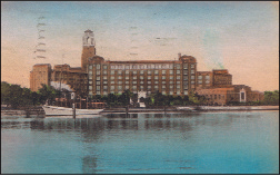 The Vinoy Park Hotel at its pre-WWII  zenith. This hand-colored postcard dated 1946 but showing the hotel as it was prior to World War II was sent by tourists from Maine. The Vinoy was completed in 1925. It was the largest and most luxurious of the 1920 boom-era hotels in the city.   Michaels Family Collection