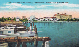 Historic view of the downtown waterfront with (left to right) the Ponce de Leon Hotel, Yacht Club, and 300 room Soreno Hotel. The Soreno hotel was on the approximate site of today's Florencia condominium. Historically, downtown was perhaps even more vibrant in terms of activity in the past, and the structure of past vitality continues to serve as the foundation for today's resurgence. Image Ca 1935. Michaels Family Collection.