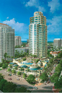 The Ovation is located at 180 Beach Drive and opened in 2009. It was built at a cost of $65 million (hard costs) and has 26 stories and 45 units. Michaels Family Collection.