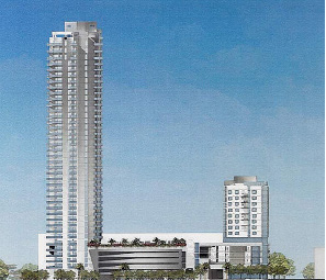 """A new development named """"ONE"""" is planned for the Tropicana block at First Street and First Avenue North. The development will combine a 13 story hotel with a 41 story condo. The project will become the city's tallest structure. Courtesy of City of St. Petersburg."""