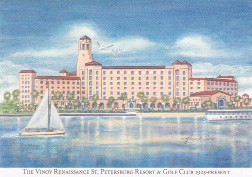 The Historic Vinoy Renaissance St. Petersburg Resort and Golf Club. Each year the Bank of Tampa St. Petersburg Division commissions a holiday card featuring a St. Petersburg historic scene. This year's card contains an image of the Vinoy illustrated by Frank Saso. Image 2014.