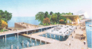 Pier Park provides space along the pier bridge for an environmental or marine educational center with both an open-air 'wet' and enclosed 'dry' classroom, use of remnant pilings for reef building, a 'Coastal Thicket' boardwalk with native plantings, an expanded Spa Beach, and a large artificial breakwater off Spa Beach joined to the Pier.