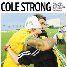 Cole with Rowdies forward Georgi Hristov