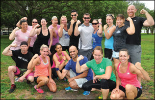 Jim Martin (above, far right) tried out Bay View Boot Camp, run by Laura Forte (above, far left).