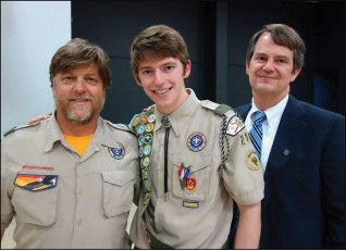 Jackson, wearing his U S Presidential Scholar Award (below left) is an accomplished pianist, avid pong-pong player, and an Eagle Scout (shown with Scout Master Terry Tomlan and Jackson's father Bob Willis).