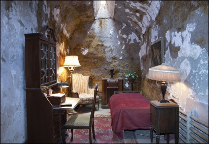 This photo is a recreation of Al Capone's cell at Eastern Penitentiary in Philadelphia, where he spent part of a one-year sentence for weapons possession. Capone was allowed to furnish his cell. Later he would spend time in Alcatraz for income tax evasion where prison life was about as harsh as it got.