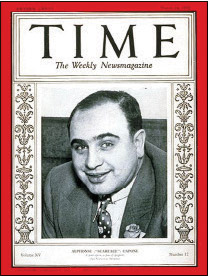 "Time Magazine put Al Capone's picture on the cover of their March 24, 1930 edition. While the photo was generally flattering, the inside story was less so. Capone was called the ""No. 1 underworldling of the U.S."""