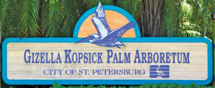 Photos on this page: Gizella Kopsick at her 100th birthday party; engraved bricks available at the park; European Fan palm, Bismarck palm, and Coconut palm.