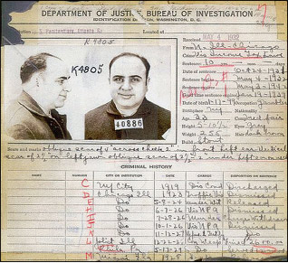 Al Capone's criminal record through 1930. Despite Capone's many arrests he only served time in jail once, for eight months, before his conviction on income tax evasion in November 1931.