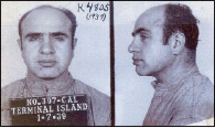 Al Capone's mug shot after his release from Alcatraz in 1939.  Capone served a little over eight years in federal prison for income tax evasion.
