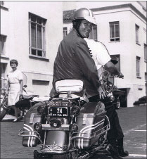 Mayor Don Jones on motor cycle, image 1967.