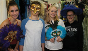 ONE performers Kayelin Leonhirth, Mitchell Greene, Ginny Swanson, and stage manager Erin Phares have fun in the costume room at Shorecrest during a Phantom rehearsal.