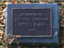 Plaque in honor of Pete Christian, namesake of 'Pete's Park'