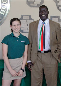 Meira Kowalski and Joseph Deng (wearing a Sudanese tie)