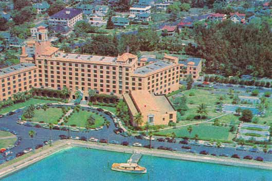 Aerial view of the Historic Vinoy Renaissance Hotel. The Vinoy Hotel was named to the National Register of Historic Places in 1978, making it possible for investors to obtain federal tax breaks up to 25% of the cost of restoration. In 1986, the hotel was also designated a local landmark. The restoration of the Vinoy is widely credited with playing a major role in sparking the downtown renaissance. Circa 1955.