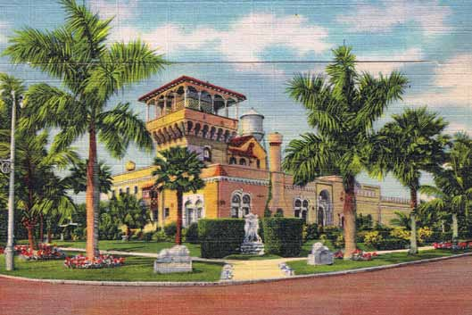 The Sunset Golf & Country Club on Snell Isle – now the Vinoy Renaissance Golf Club – was constructed in 1926 by C. Perry Snell. It was built in the Romantic Revival style with an onion dome, tile detailing, and minaret. The building was designated a local landmark in 1994. Circa 1930.