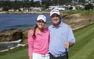 Mariana with pro golfer Gene Sauers in Pebble Beach, CA with the First Tee of St. Petersburg