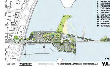 This recent schematic shows major features as currently planned for both Pier Park and the Pier Approach.