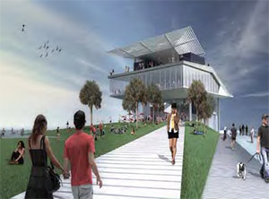 Rendering of Great Lawn and Lawn Bowl, west of the Pier Head building. The Great Lawn and Lawn Bowl will accommodate up to 3,000 people for events.
