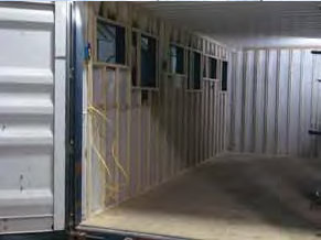 Inside view of shipping container