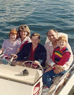 Kathryn, Martha, David, Carlen, Rachel boating in 1987