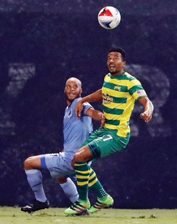 Tam Mkandawire is #17 for the Tampa Bay Rowdies