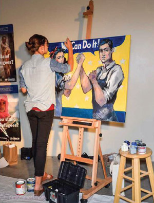 Tessa Moeller painting life at 'UNIFIED #GenderEquality' event