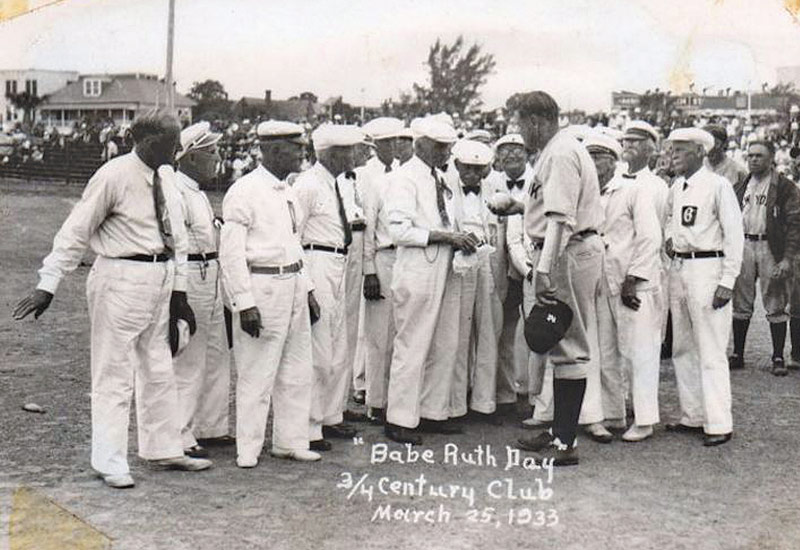 Babe Ruth visits the Kids and Kubs, 1933. Ruth and many other major league stars have visited Kids and Kubs games. Ruth spring trained in St. Petersburg with the New York Yankees from 1925 to 1934, and again with the Boston Braves in 1935.