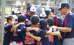 A Northeast Little League team in a huddle