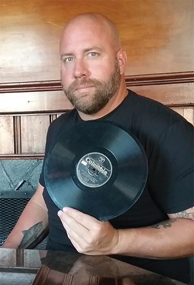 Matthew Powers with Earl Gresh memorabilia