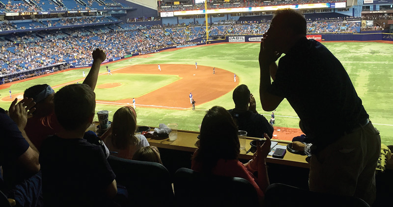 Foster youth at a Rays game