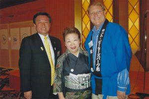 Takamatsu Mayor Hideto Onishi and Mayor Bill Foster with Mrs. Noriko Noda, member of the Takamatsu 50th Anniversary executive committee, at the 50th Sister City Celebration in Takamatsu, 2011.