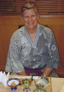 Former Mayor Bob Ulrich in traditional Japanese-style clothing during visit to Japan.