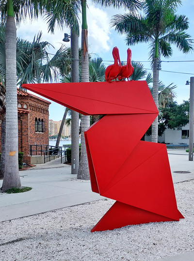 """The Red Pelican origami at the entrance of the St. Pete Pier is a """"nod"""" to the 60-year Takamatsu-St. Petersburg Sister City Partnership. A new plaque will soon be added to the sculpture recounting the sixty years of friendship between the two cities."""